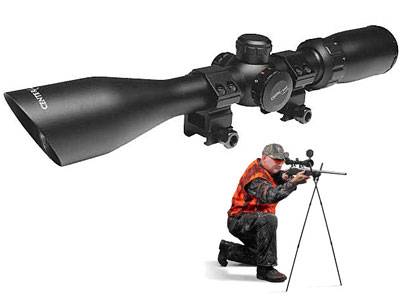 """CenterPoint Optics Shooters Kit, Quick-Release Bipod, 3-9x40 Adventure Class Rifle Scope, Illuminated Mil-Dot Reticle, 1/4 MOA, 1"""" Tube, See-Thru Weaver Rings"""