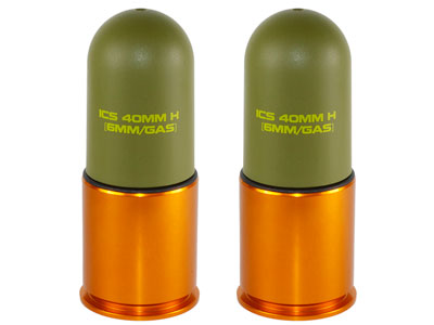 ICS Lightweight Airsoft Grenade Shells, 40mm, 70 Rd Capacity, 2ct