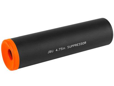 "JBU Fake Airsoft Suppressor, 4.75"" Long, Aluminum, Orange Tip"