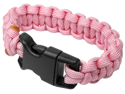 "Mil-Spec BCRF Paracord Survival Bracelet, Rose Pink Color, 6"""