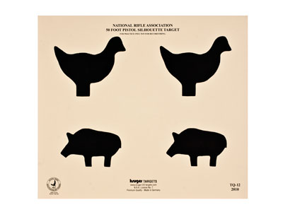 "Kruger NRA 50-ft Pistol Silhouette Target, Chicken & Pig, 12""x10.5"", 100ct"