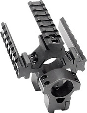 "Leapers Accushot 1"" Rings w/Deluxe Tactical Tri-Rail, Medium, 3/8"" Dovetail, See-Thru"
