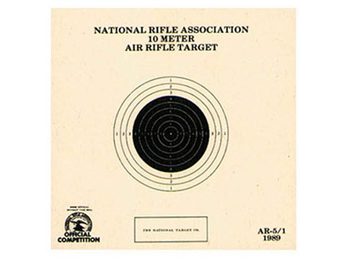 National Target NRA 10-Meter Air Rifle Bullseye Target, 1 Bull/Page, 100ct