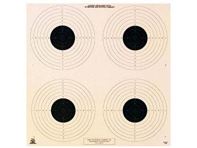 National Target NRA 10-Meter Air Pistol Bullseye Target, 4 Bulls/Page, 100ct