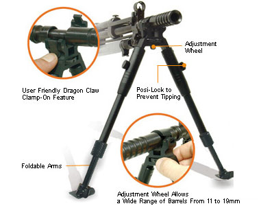 UTG Low-Profile Dragon Claw Clamp-on Barrel Bipod