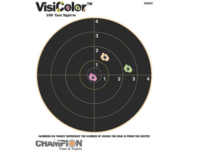 "Champion VisiColor High-Visibility Paper Targets, 8"" Bull, 10pk"