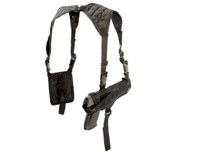Crosman Shoulder Holster, Black, Mag Pouch, Med-Frame Guns