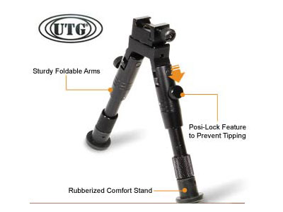 UTG Bipod, SWAT/Combat Profile, Adjustable Height, Rubberized Stand