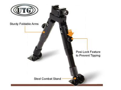 UTG Bipod, SWAT/Combat Profile, Adjustable Height, Steel Feet
