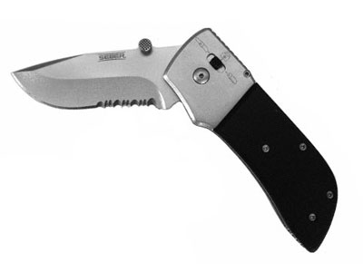 "Seber Ratcheting Knife, 3"" Locking Blade, Drop Point, Half-Serrated Edge"