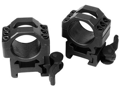 "UTG 1"" Max Strength Quick-Detach Rings, Medium, Weaver/Picatinny, See-thru"
