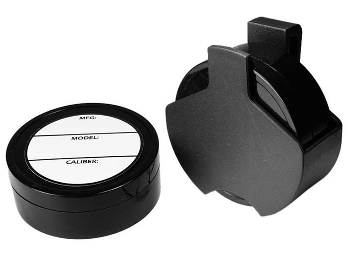 Pellet Holster, Attaches to Belt, 2 Foam-Lined Pellet Tins, 4 Paper Labels
