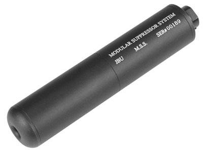 """JBU Fake Airsoft Suppressor, 6.75"""", Aluminum, Incl. Barrel Extension"""