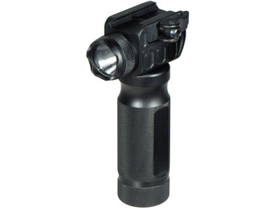 UTG Foregrip & Integral LED Flashlight, QD Cam Lever, Fits Weaver/Picatinny Rails