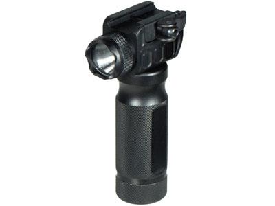 UTG Foregrip & Integral LED Flashlight, QD Cam Lever, Fits Weaver/Picatinny Rails