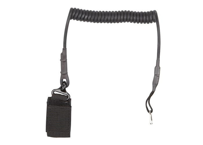 ASG Lanyard, Belt Attach, Coiled Cable, Black