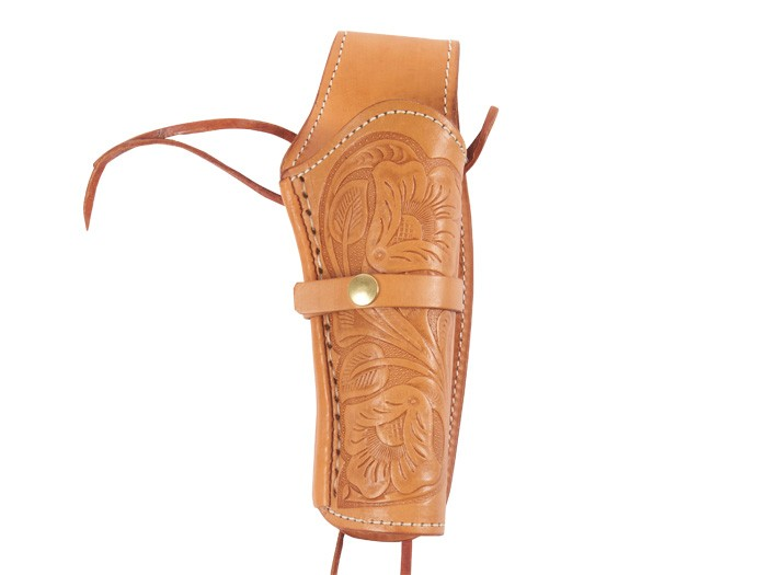 """Hand-Tooled Leather Holster, 6"""", Natural, Right Hand"""