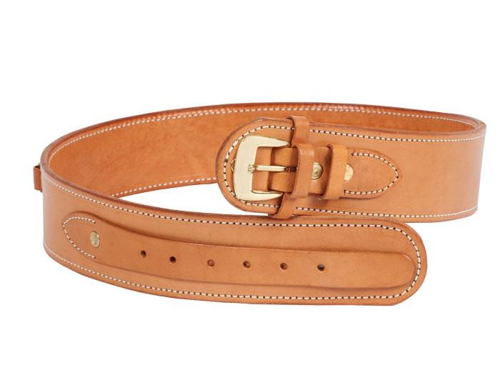"Gun Belt, 42-46"" Waist, .38-Cal Loops, 2.5"" Wide, Natural Leather"