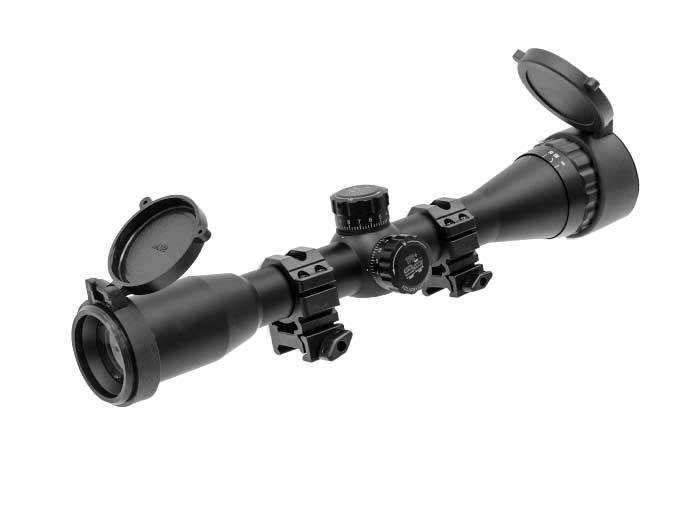 "Leapers UTG 4x32 AO True Hunter Rifle Scope, Mil-Dot Reticle, 1/4 MOA, 1"" Tube, See-Thru Weaver Rings"