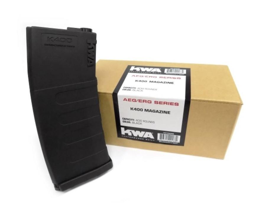 KWA K400 AEG ERG Black 400 High Capacity Airsoft Rifle Magazine, 3ct