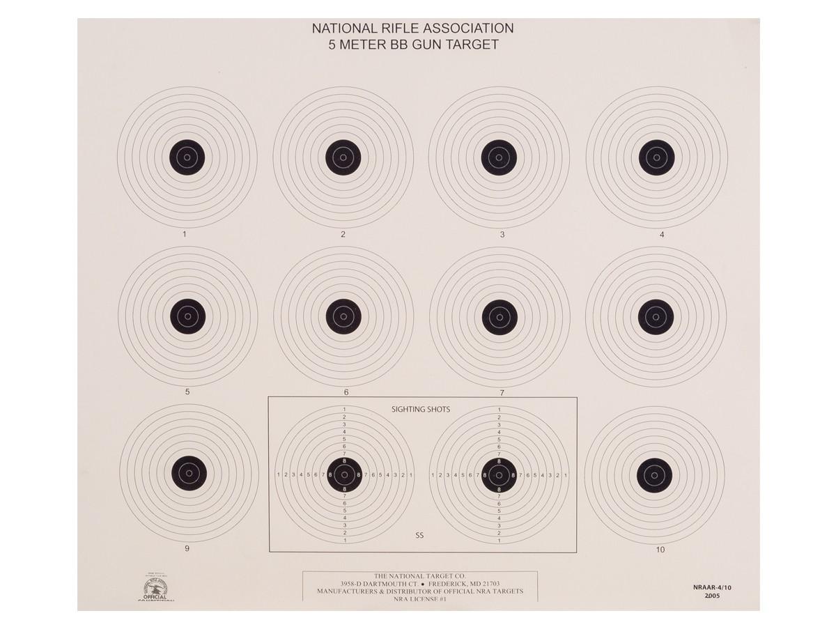 """National Target NRA 5 meter BB Gun Target, 14""""x12"""", 100ct."""