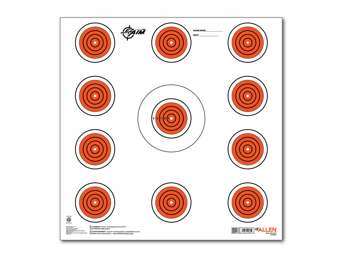 """Allen Company EZ Aim 11 Spot Indoor Target, 12""""x12"""", 13-pack"""