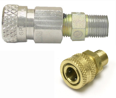 Female quick-disconnect adapter with male thread