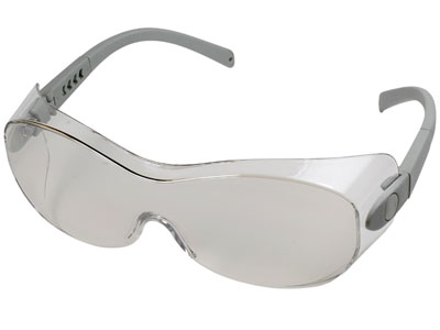 Radians Sheath OTG Indoor/Outdoor Safety Glasses, Fits Over Glasses, Clear Lens, Silver Temples