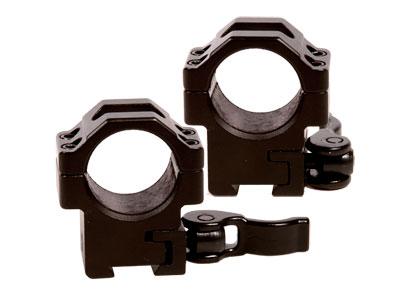 """UTG 1"""" Quick-Detach Lever Lock Rings, Medium, 11mm, 4 Hex Screws Per Ring Cap"""
