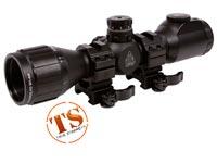 "UTG 6x32 AO Bug Buster CQB Compact Rifle Scope, EZ-TAP, Illuminated Mil-Dot Reticle, 1/4 MOA, 1"" Tube, Medium Weaver Rings PY-A-4699"