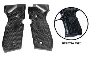 Beretta 92FS Grips, Black Plastic