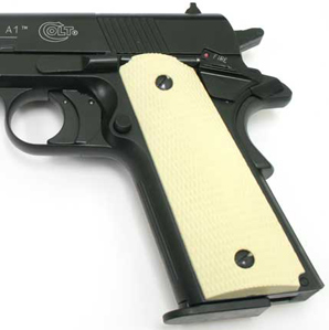 Rubber Grips, Ivory Finish, Fits Umarex Colt 1911 Government CO2 Pistol