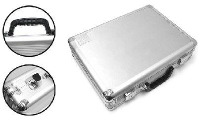 plano large aluminum pistol case silver hard