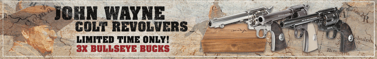 Triple Bullseye Bucks on John Wayne Colt Revolvers