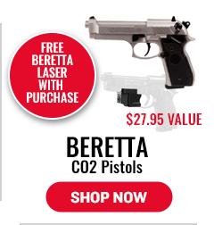 Beretta CO2 Pistols - Free Beretta Laser Scope with Purchase - $27.95 Value