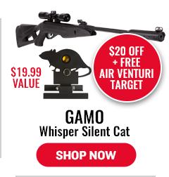 Gamo Whisper Silent Cat - $20 Off Plus Free Air Venturi Target - $19.99 Value