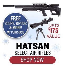 Free Scope, Bipods and More with Purchase of Select Hatsan ($165 value)