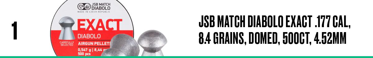 JSB Match Diabolo Exact .177 Cal, 8.4 Grains, Domed, 500ct, 4.52mm