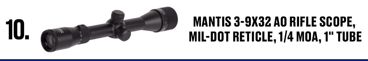 Mantis 3-9x32 AO Rifle Scope, Mil-Dot Reticle, 1/4 MOA, 1 Tub