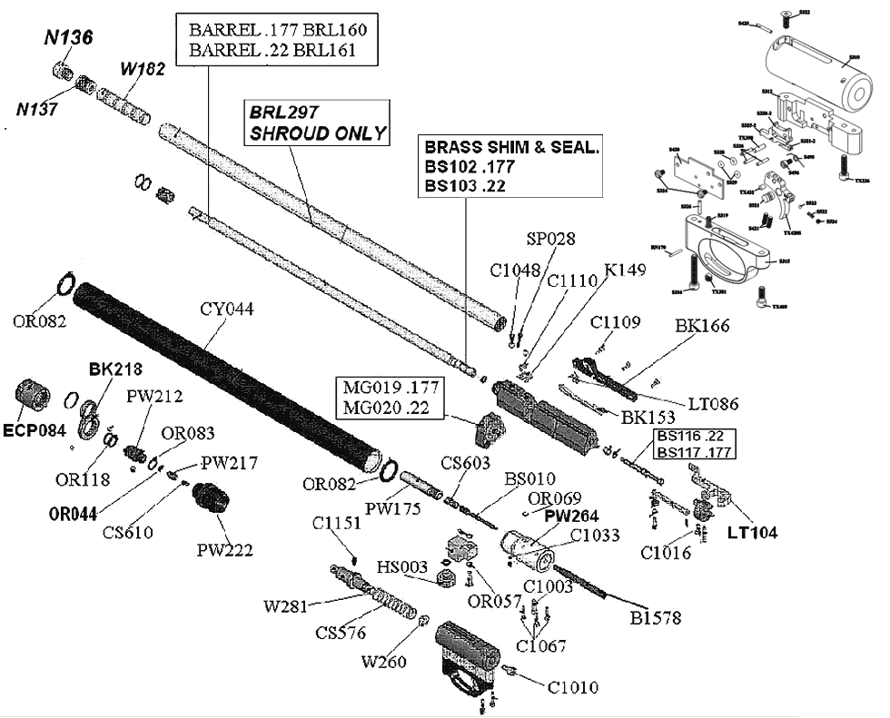 Product Schematics for Air Arms S400 Biathlon Air Rifle - PyramydAir.