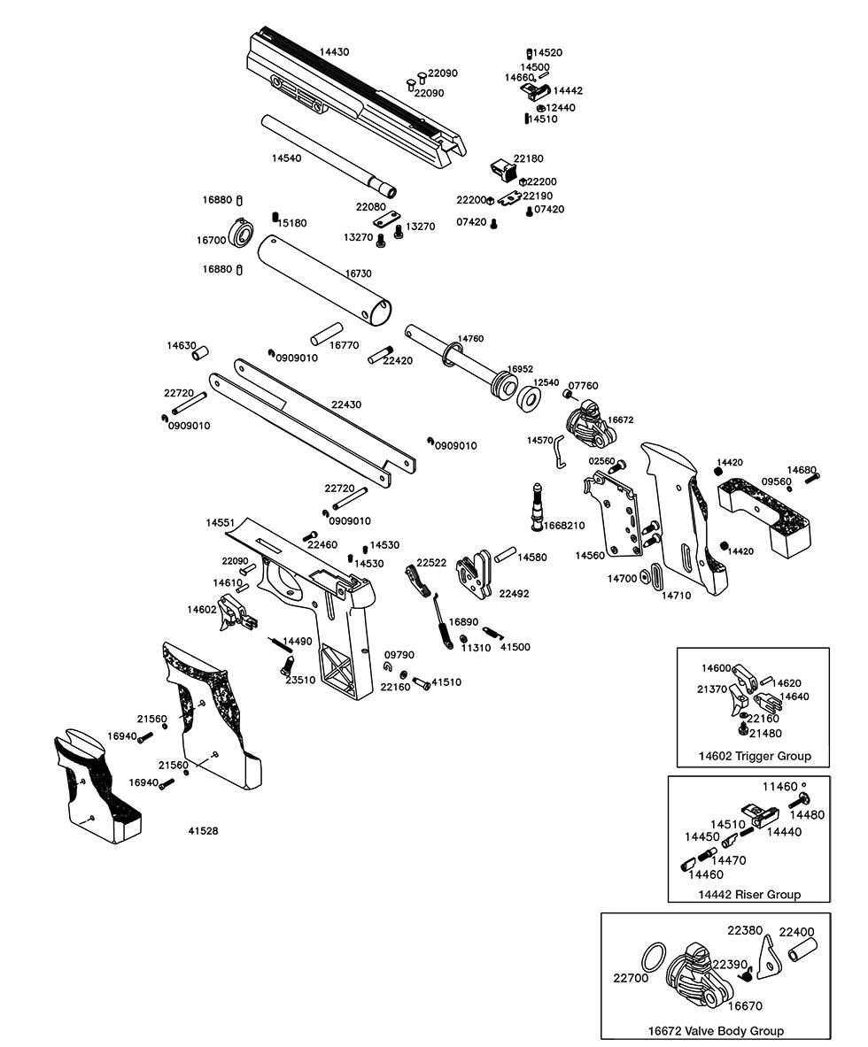 Product Schematics for Air Venturi V10 Match Air Pistol | Pyramyd Air