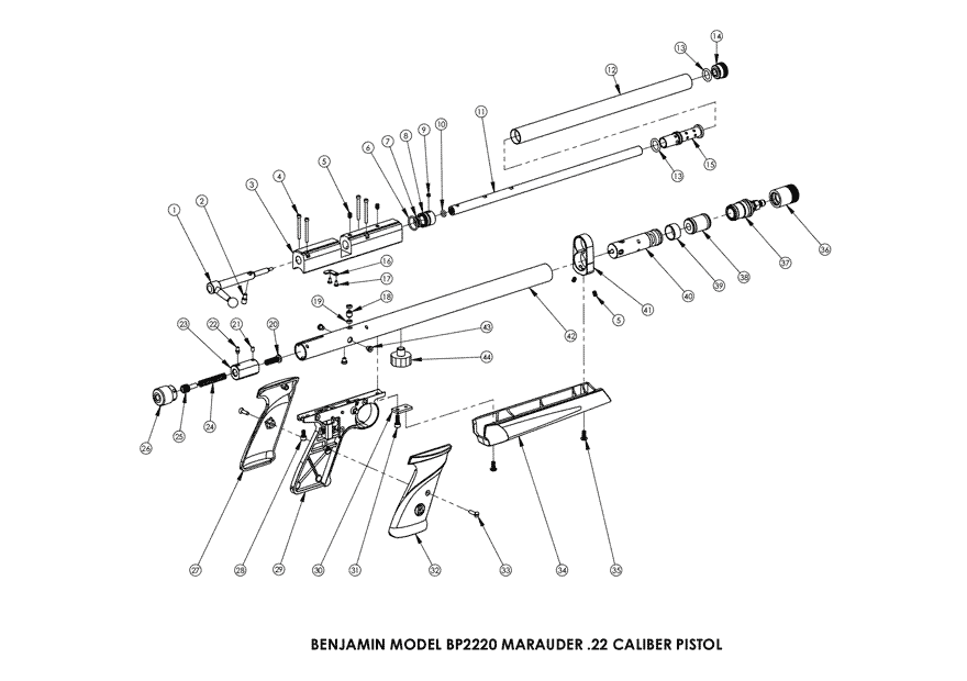 Product Schematics For Benjamin Marauder Pcp Air Pistol Pyramyd Air