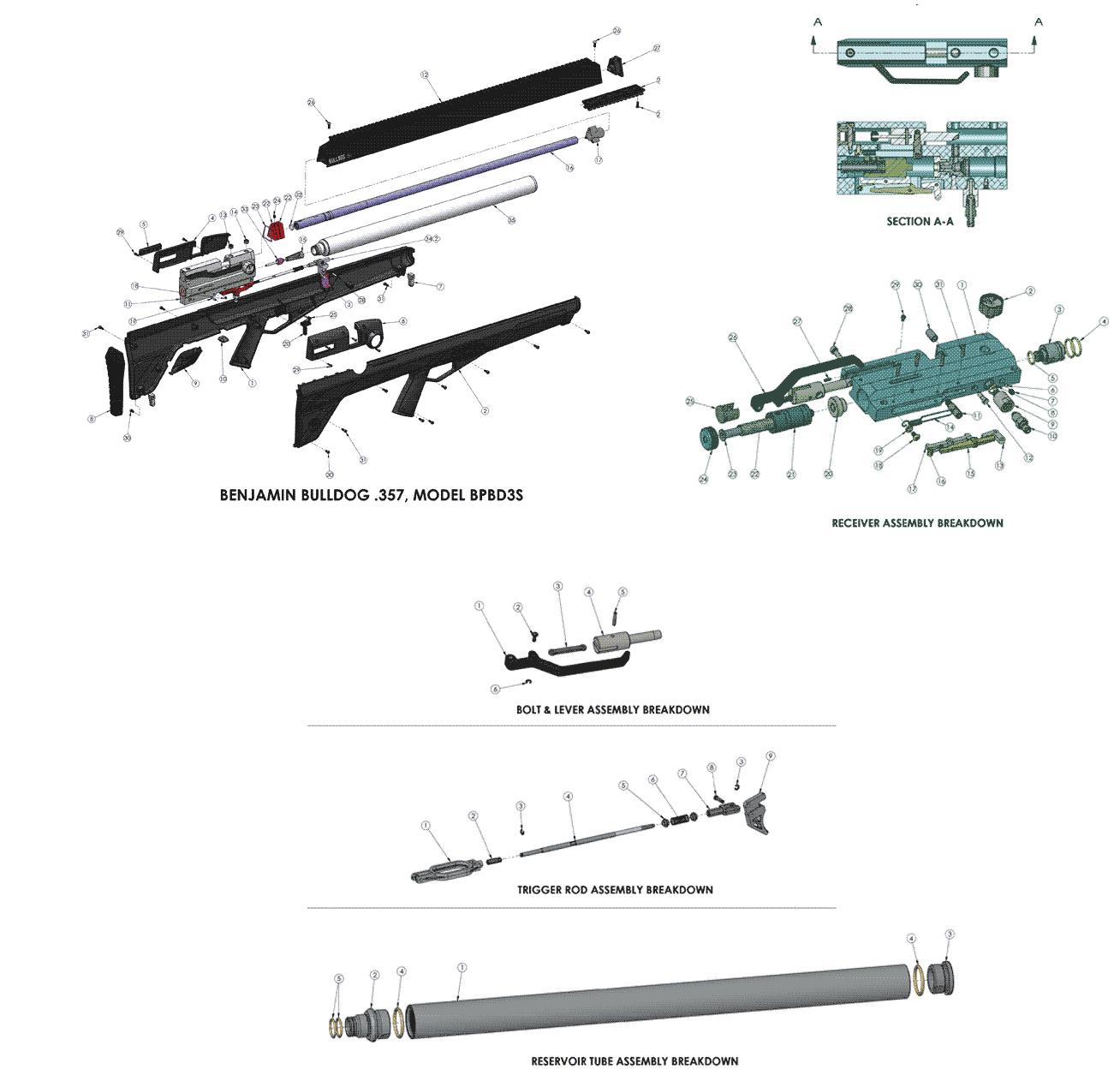 Product Schematics For Benjamin Bulldog 357 Bullpup Shrouded