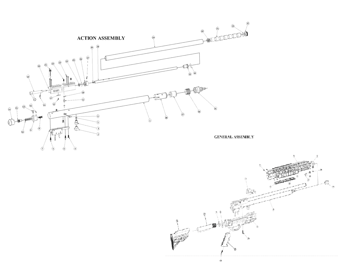 Product Schematics for Benjamin Armada Air Rifle | Pyramyd Air