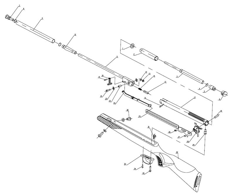 Product Schematics for Benjamin Titan GP Nitro Piston Air Rifle