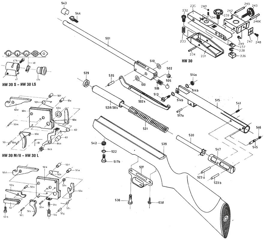 Product Schematics for Weihrauch HW30S Air Rifle - PyramydAir.