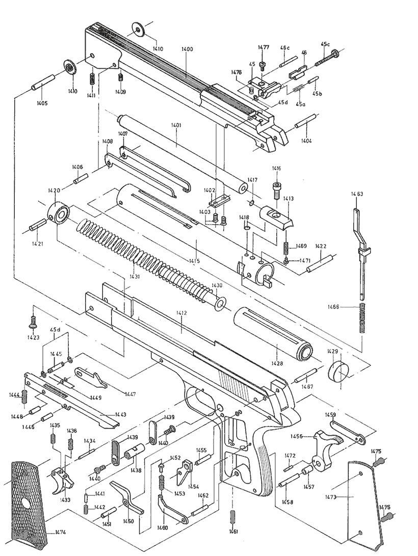 Product Schematics for Beeman P1 Air Pistol - PyramydAir.