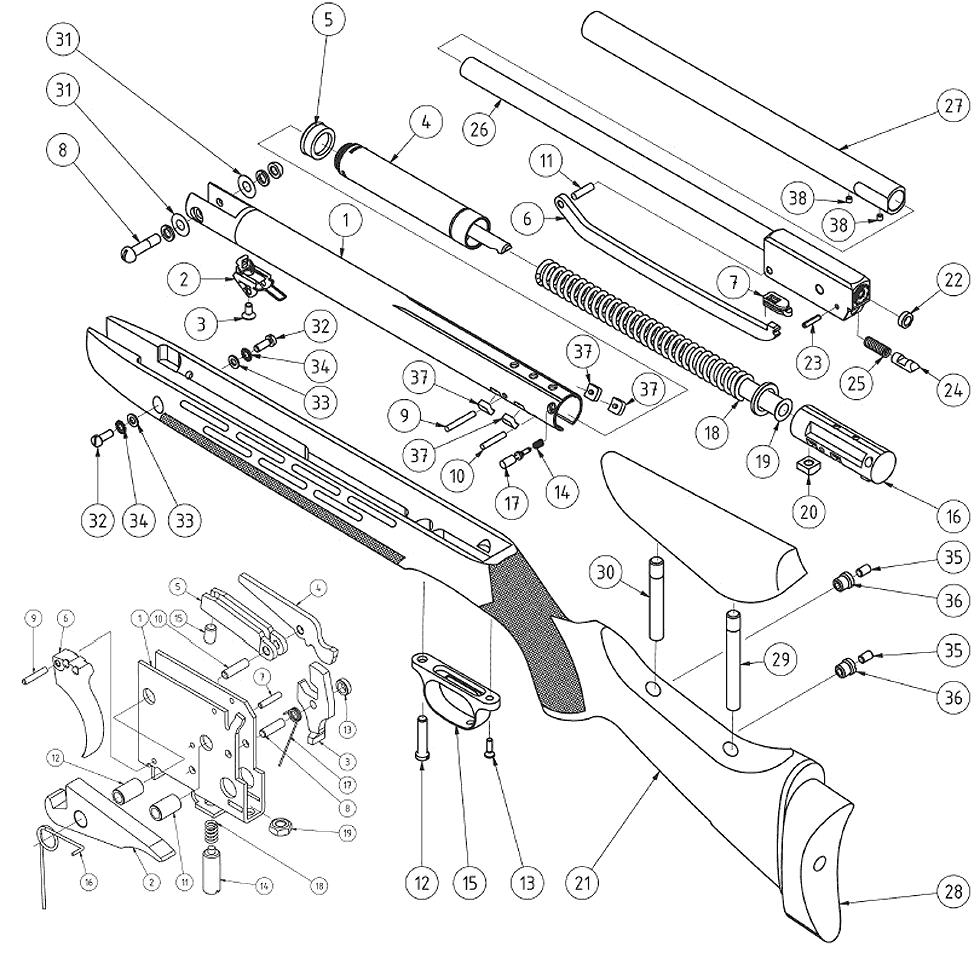 Product Schematics for Beeman R11 MKII Air Rifle | Pyramyd Air
