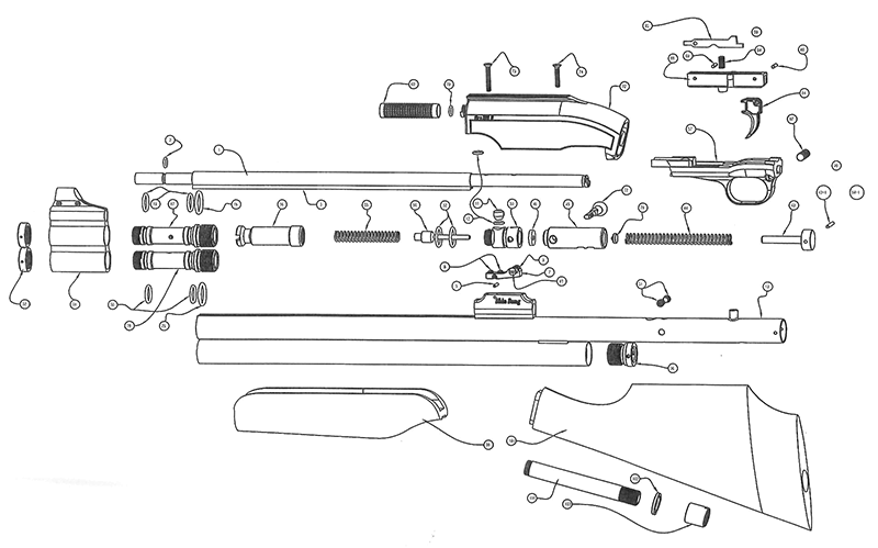 Product Schematics for Sam Yang Big Bore 909S - PyramydAir.com