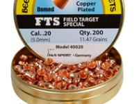 Beeman FTS Copper Coated .20 Cal, 11.47 Grains, Domed, 200ct